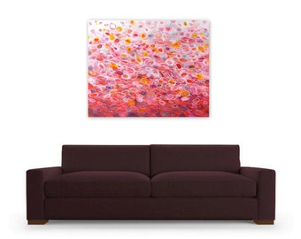 Digital Print, Abstract Painting, Instant Download, Red White Pink, colorful acrylic painting circles ombre, Fiesta by Jessica Torrant