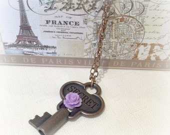 Key Necklace - Key Pendant - Vintage Necklace - Copper Key Necklace - Secret Key Necklace - Secret Key Pendant - Purple Flower Necklace