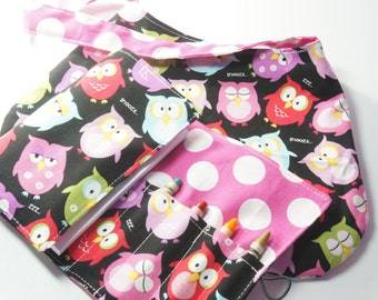 Handmade Crayon Wallet and Matching Purse - Sleepy Owls - owl theme birthday gift.girl bag.art wallet.Crayons and Pad NOT INCLUDED