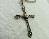 Circa 1930 Silver and Marcasite Cross Pendant