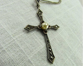 Circa 1930 Silver and Marcasite Cross Pendant