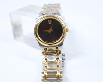 Movado Watch / Vintage gold silver black / link watch / Valentine / stainless steel / water resistant / birthday gift / sapphire crystal