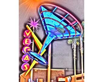 Las Vegas NEON sign Digital download / Fremont Street Las Vegas / martini glass / travel / retro / Photograph / Art download / Home Decor