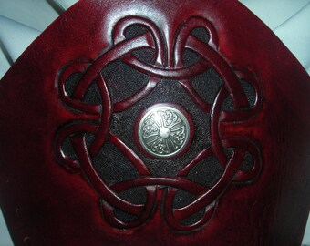 Norse circle leather bracers, hand carved, leather cuffs
