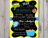 Digital Chalkboard Style Splash Style 2 Water Birthday Party Invitation Printable