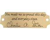 Handwriting memorial signature engraved brass plaque that can be mounted onto a picture frame