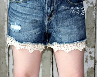LACE detail Shorts Extender, security shorts, Ivory & Black