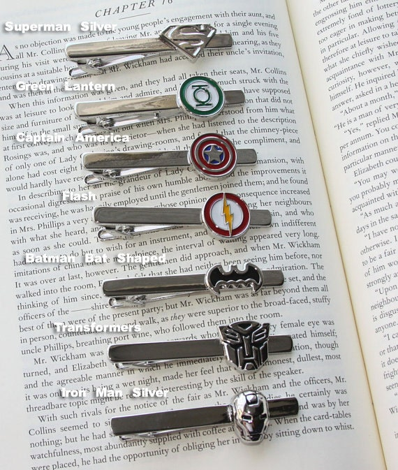 Super Tie Clip!  26 Styles, superman, captain america, batman, transformers, spiderman, star wars, star trek, flash, iron man, green