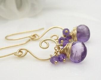Gold amethyst earrings - wire wrapped spiral cluster dangle purple gemstone earrings