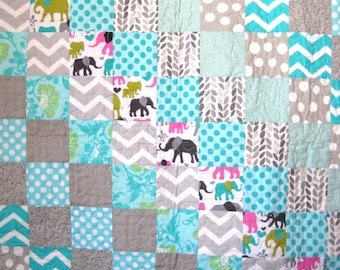 Handmade Baby Quilt with Elephants, Chevrons and Polka Dots