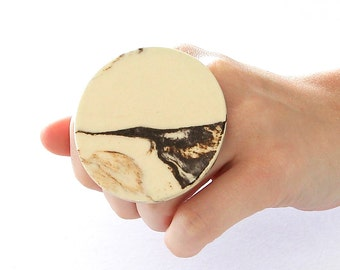 Marbled Ceramic Statement Cocktail Ring - big bold oversize handmade - MARBLE MAGIC - 2.4 inch
