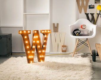 """Light Up Letter W - RUSTY - 24"""" Vintage Marquee Lights-The Original!"""