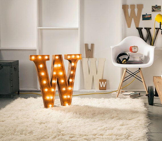 "Letter Light W - RUSTY - 24"" Vintage Marquee Lights-The Original!"