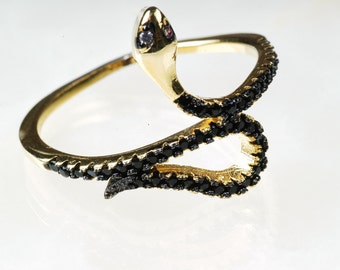 Snake Ring - Sterling Silver -Gold Snake Ring - Micro Pave Black  CZ ring  - Snake Jewelry - Midi Ring