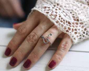 Snake Ring - Sanke Ring with White CZ - Sterling Silver -Gold Snake Ring - Micro Pave CZ - Snake Jewelry / Midi Ring