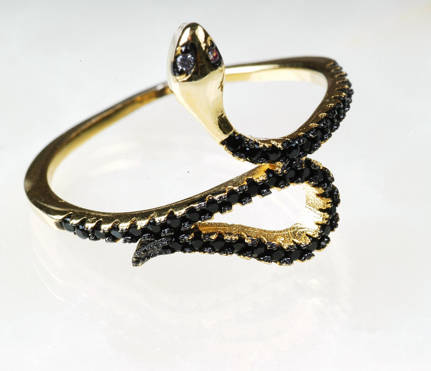 snake ring sterling silver gold snake ring micro pave