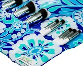 Make Up Brush Roll | Cosmetic Organizer | Makeup Storage | Purple Hawaiian Floral | Ready To Ship