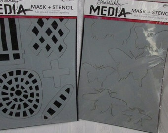 Dina WAKLEY by Ranger 6 x 9 SHAPES and INSECTS Mask and Stencils Two Sets