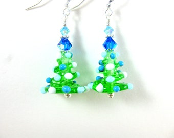 Christmas Tree Earrings, Blue White Christmas Earrings, Holiday Earrings, Lampwork Earrings, Holiday Jewelry, Dangle Earrings - Silver Bells