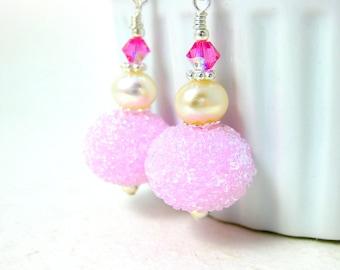 Cotton Candy Earrings, Pink Sugar Earrings, Glass Earrings, Snowball Earrings, Lampwork Earrings, White Pearl Earrings, Dangle Earrings