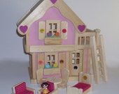 Ready to ship, Wooden Toy Doll House, Pink Dollhouse, Doll Furniture, Waldorf, Handmade toy,Kids Easter gift,Jacobs Wooden Toys 'SWEETHEART'