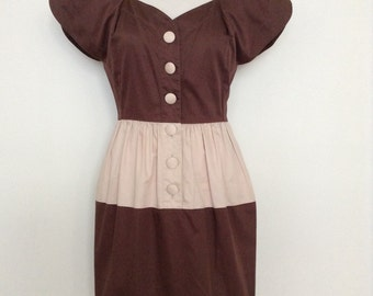 French designer dress KARL LAGERFELD - brown and beige stripe - medium