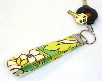 CLEARANCE SALE Wristlet Key Fob Amy Butler Fabric Keyring Keychain Temple Tulips Chartreuse Emerald Green Handmade Fabric Key Ring MTO