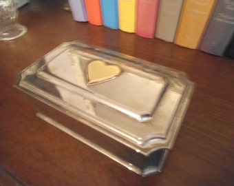 vintage Lenox Silverplate Jewelry Box ~ Silver Chest with Gold heart