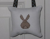 Bunny Counted Cross Stitch Hanging Pillow