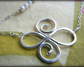 Infinity Swirl Necklace - Large Size Friendship Eternity Sterling Silver - Gift Reiki Healing Touch Energy work Bridesmaids Bridal Birthday