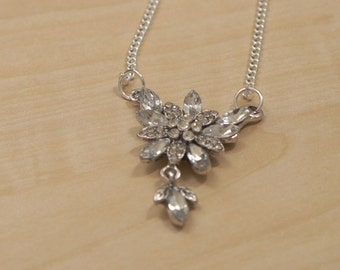 Silver Necklace with Rhinestone Flower Pendant