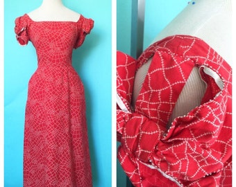 Vintage 1950s Tina Leser Spiderweb-esque Novelty Print Cutout Big Bow Sleeves S/M
