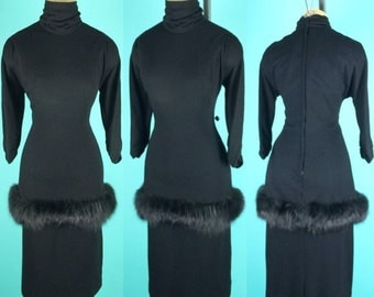 Vintage 1950s Lilli Diamond Wool Jersey Cocktail Wiggle Dress Faux Fur LBD ~ Large