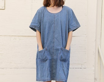 Oversized denim artists smock dress. S/M/L