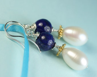 Pearl Drop earrings with Lapis Lazuli, Argentium silver French Hooks, Large Drop Pearl dangle earrings, something blue, original by art4ear