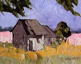 CALIFORNIA Plein Air Landscape Impressionist Painting Lynne French Farm Cottage Farmhouse 9x12