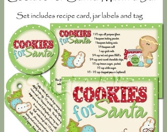 Make your own Cookies for Santa Mix in a Jar - Label, Tag and Recipe - Digital Printable Kit - Great Gift Idea - Immediate Download
