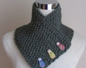 Green chunky Knit wrap over scarf