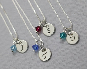 Personalized Sterling Silver Necklace, Birthstone Necklace, Custom Initial Necklace, Bridesmaid Necklace, Gift for Her, Girlfriend Gift