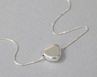 Sterling Silver Heart Necklace, Silver Heart Necklace, Sterling Silver Heart Pendant, Sterling Silver Necklace, Personalized Bridesmaid Gift