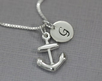 Personalized Sterling Silver Anchor Necklace, Sterling Silver Anchor Pendant on Sterling Silver Necklace Chain, Gift for Her Girlfriend Gift