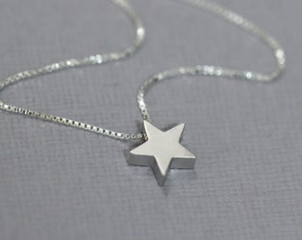 Silver Star Necklace, Silver Star Pendant on Sterling Silver Necklace Chain, Star Necklace, Layering Necklace, Casual Necklace, Gift for Her