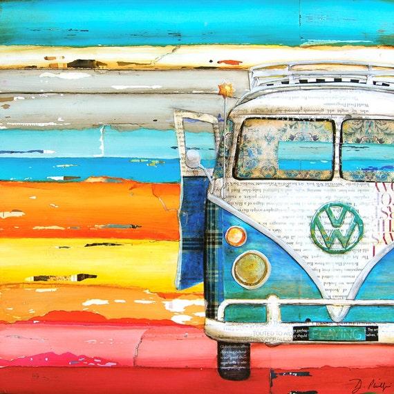 art print vw volkswagen van bus retro vintage beach coastal. Black Bedroom Furniture Sets. Home Design Ideas