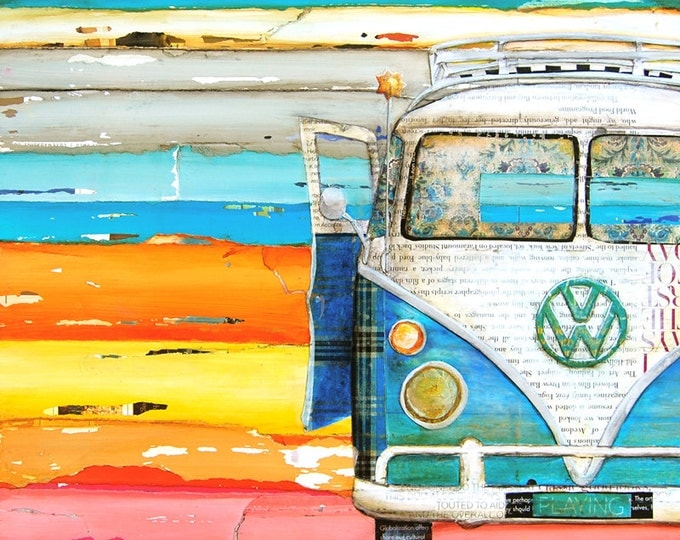 Featured listing image: ART PRINT Vw volkswagen van bus retro vintage beach coastal wall decor poster painting summer gift nostalgia wedding, All Sizes