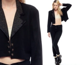 Black Blazer TUXEDO Jacket Metallic Gold CROPPED 90s Gothic Grunge Button Up Classic Crop 1990s Hipster Vintage Collared 1990s Small Medium