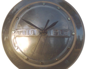 2 Day Shipping!! Vintage Wall Clock made from Dodge Hubcap, clock with dots for numbers, (v hubcap art)