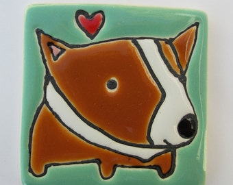 2.5 Square Pembroke Corgi with a Heart