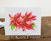 Original watercolor print note cards / set of 6 / poinsettia flower / blank note card set