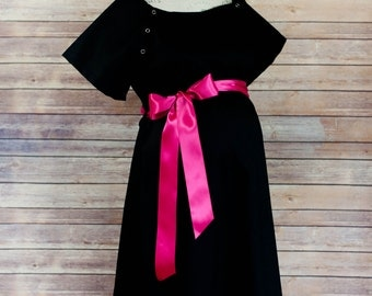 Maternity Hospital Delivery Gown in Black -Super Soft Fabric -Perfect Snaps for Breastfeeding & Skin to Skin -Snaps down the back