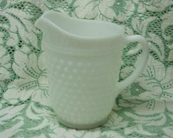 Vintage Milk Glass Hobnail Pitcher